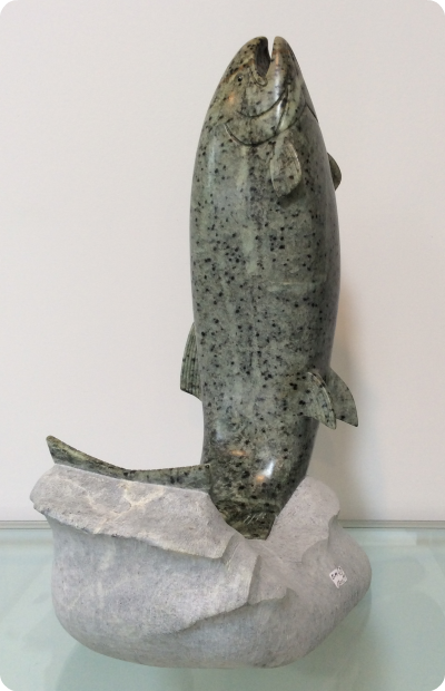 Salmon Jumping Sculpture Medium: Brazilian Soapstone