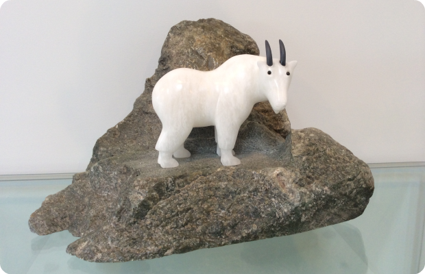 Mountain Goat - Hand Carved - Medium: Alabaster on Soapstone
