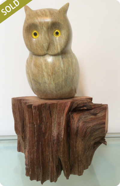 Owl - Hand Carved Sculpture - Medium: Brazilian Soapstone