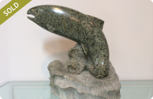 Soapstone Sculpture - Jumping Salmon
