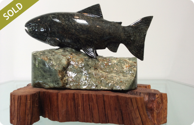 Rainbow Trout - Medium: Brazilian Soapstone on Juniper