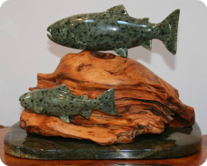 Swimming Fish - Juniper Burl - Medium: Brazilian Alabaster